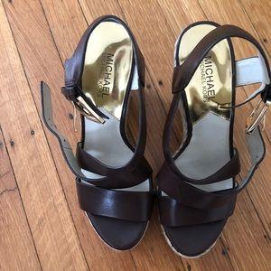 Michael kors brown espadrille wedge sandals